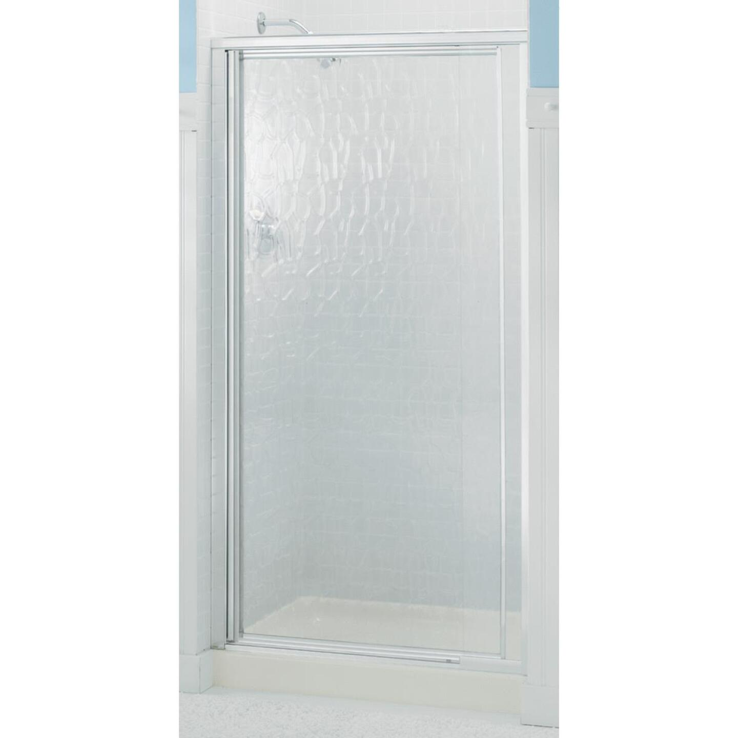 Sterling Vista Pivot II 27-1/2 In. W. X 65-1/2 In. H. Chrome Pebbled Glass Shower Door Image 1