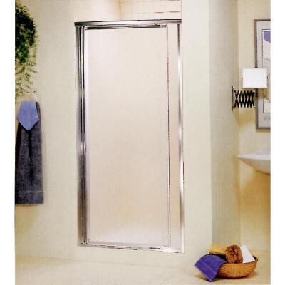 Sterling Vista Pivot II 31-1/4 In. W. X 65-1/2 In. H. Chrome Pebbled Glass Shower Door