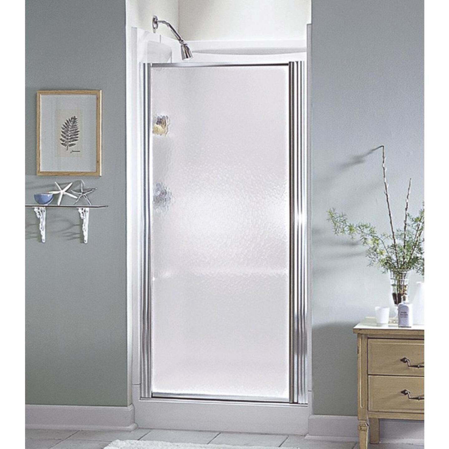 Sterling 32-1/2 In. W. X 64 In. H. Chrome Hammered Glass Standard Pivot Shower Door Image 1