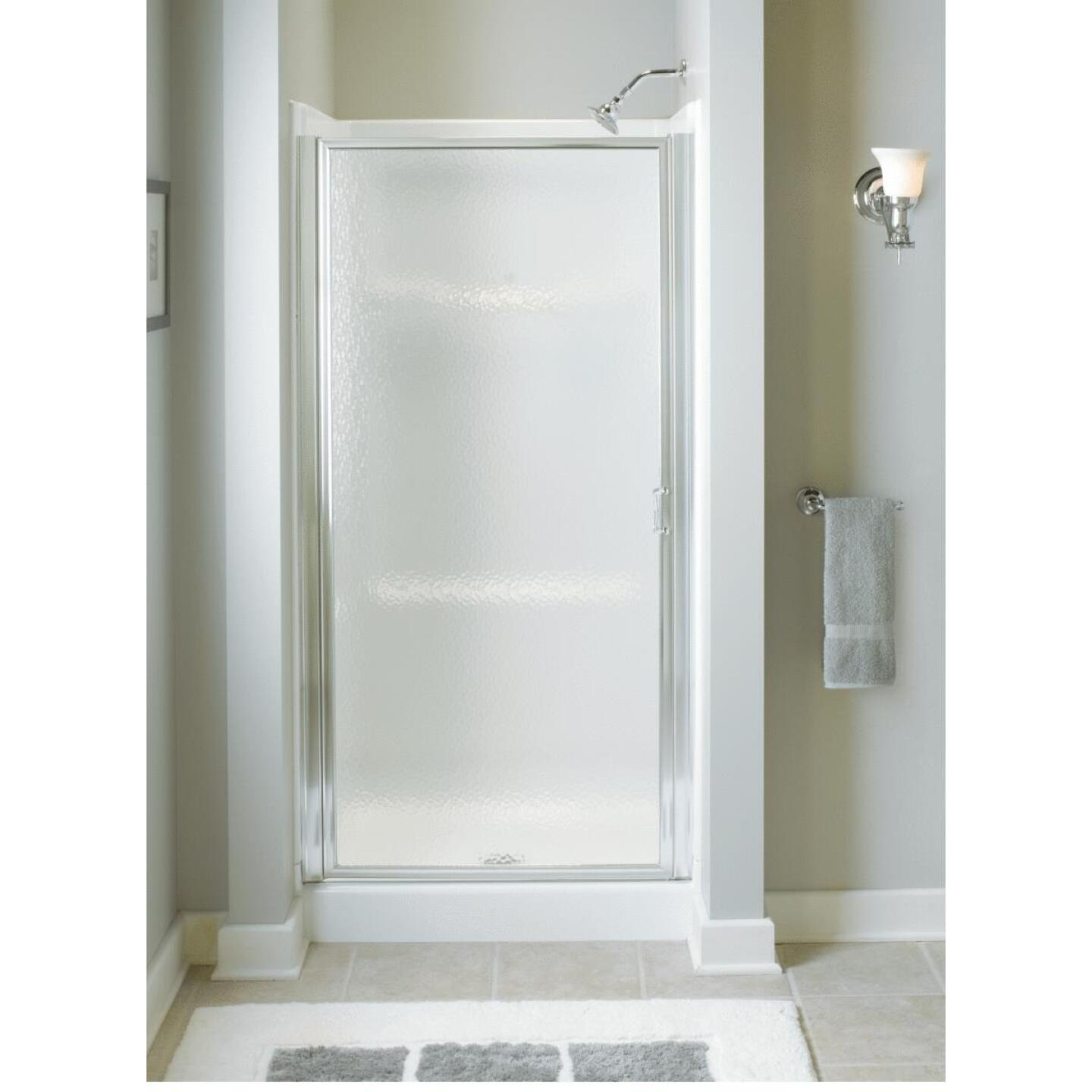 Sterling 36 In. W. X 64 In. H. Chrome Hammered Glass Standard Pivot Shower Door Image 2