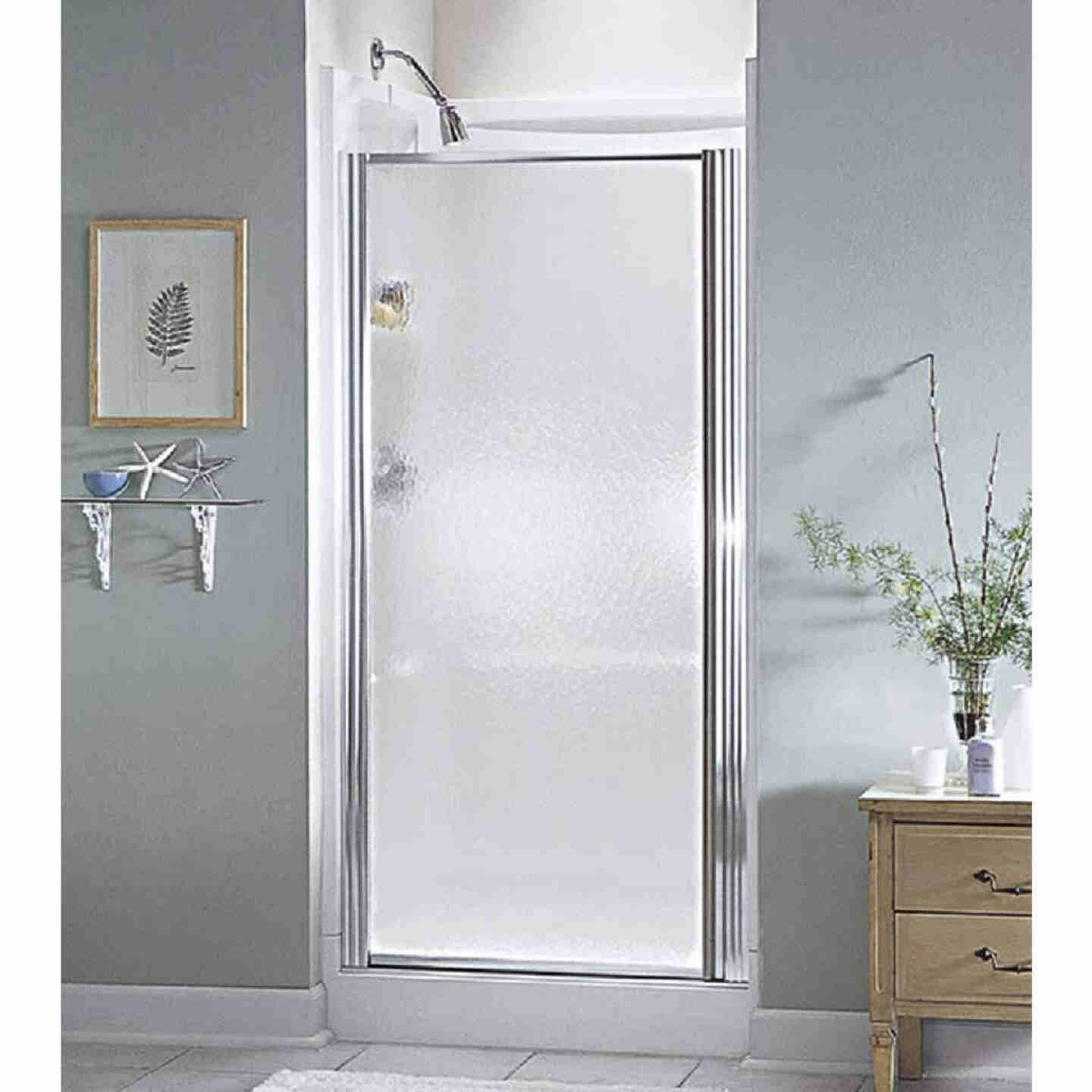 Sterling 36 In. W. X 64 In. H. Chrome Hammered Glass Standard Pivot Shower Door Image 1