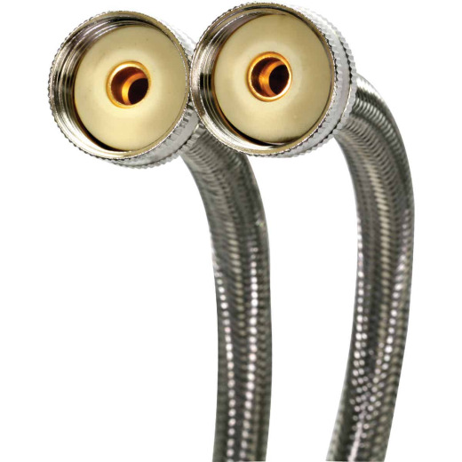 Fluidmaster 3/4 x 3/4 In. Hose Fitting x 60 In. L Braided Stainless Steel Washing Machine Hose (2-Pack)