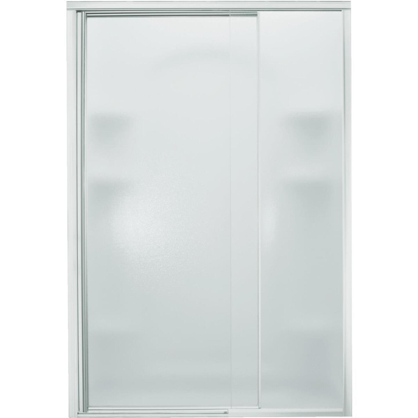 Sterling Vista Pivot II 48 In. W. X 65-1/2 In. H. Chrome Pebbled Glass Shower Door Image 1