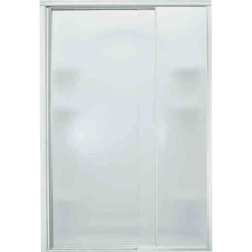 Sterling Vista Pivot II 48 In. W. X 65-1/2 In. H. Chrome Pebbled Glass Shower Door