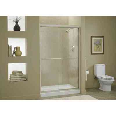 Sterling Finesse 47-5/8 In. W. X 70-5/16 In. H. Nickel Frameless Clear Sliding Shower Door