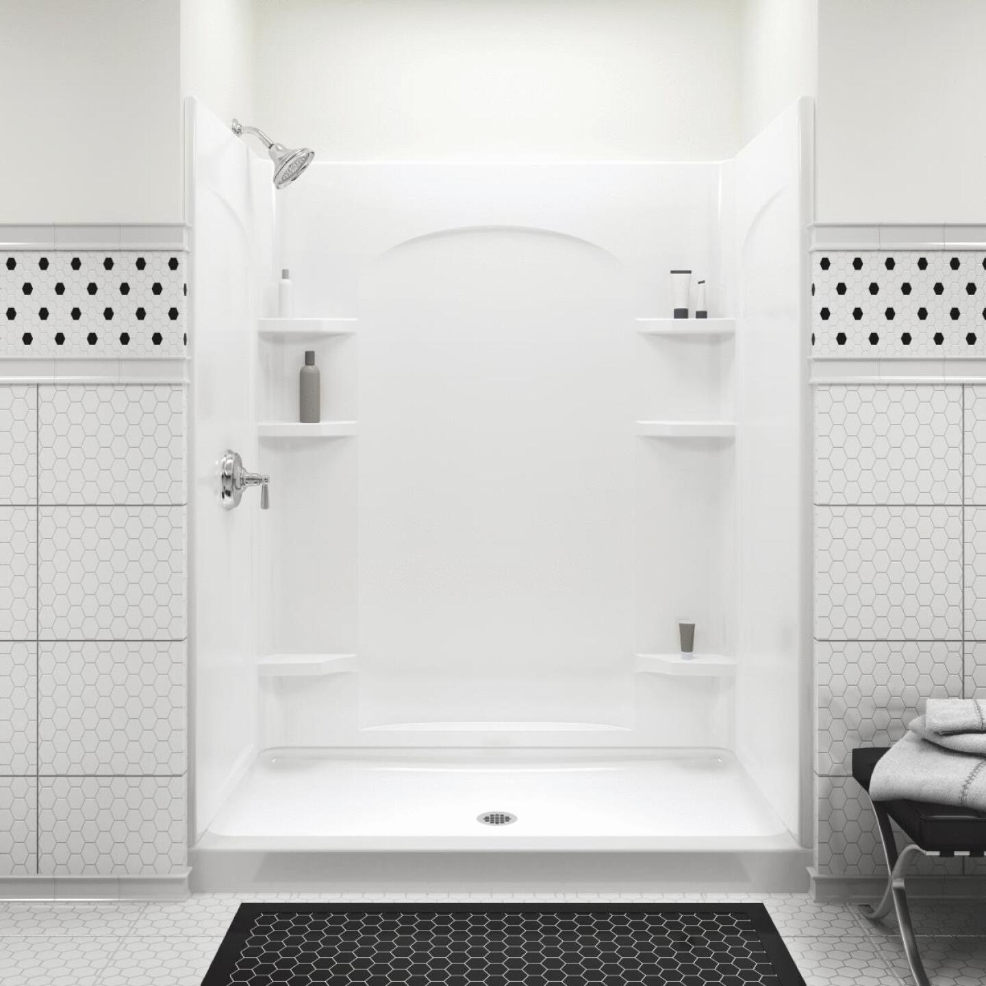 Sterling 60 In. W x 72-1/2 In. H White Vikrell Shower Back Wall Image 4