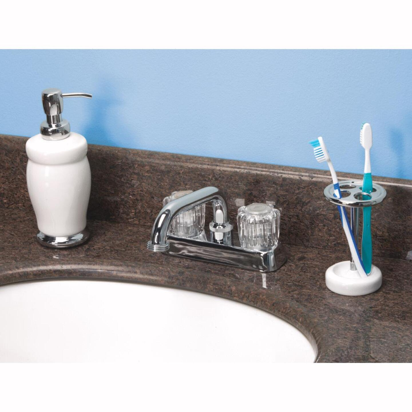 Home Impressions Chrome 4 In. Installation Solid Brass, Acrylic Handle Laundry Faucet Image 2