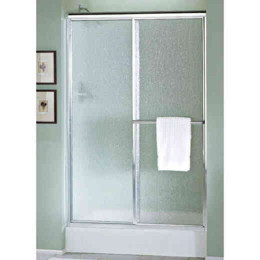 Sterling Deluxe 48-7/8 In. W. X 70 In. H. Nickel Rain Glass Sliding Shower Door