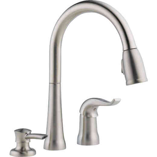 Delta Kate Single Handle Lever Pull-Down Kitchen Faucet with Soap Dispenser, Stainless