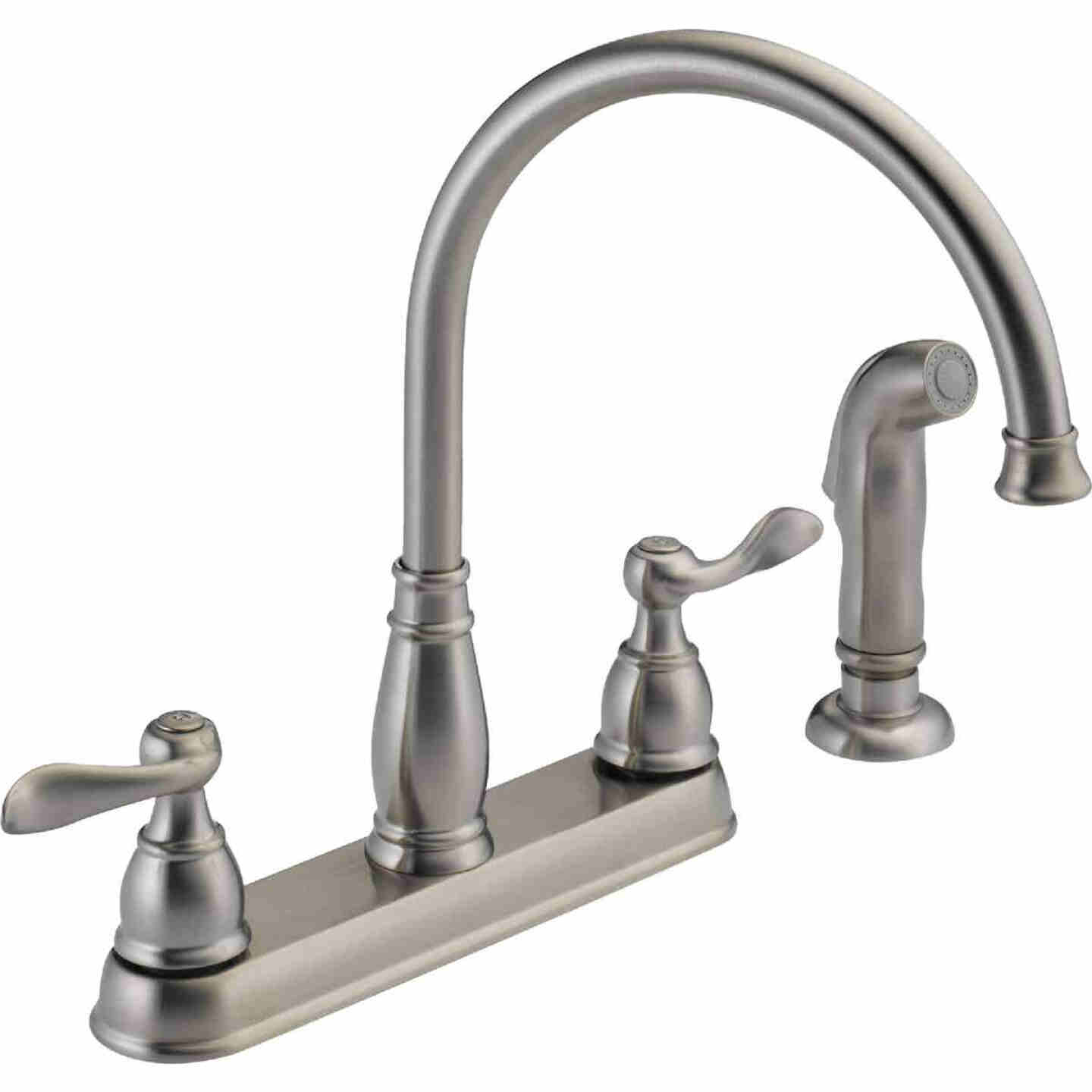 Delta Windemere Dual Handle Lever Kitchen Faucet with Side Spray, Stainless Image 1