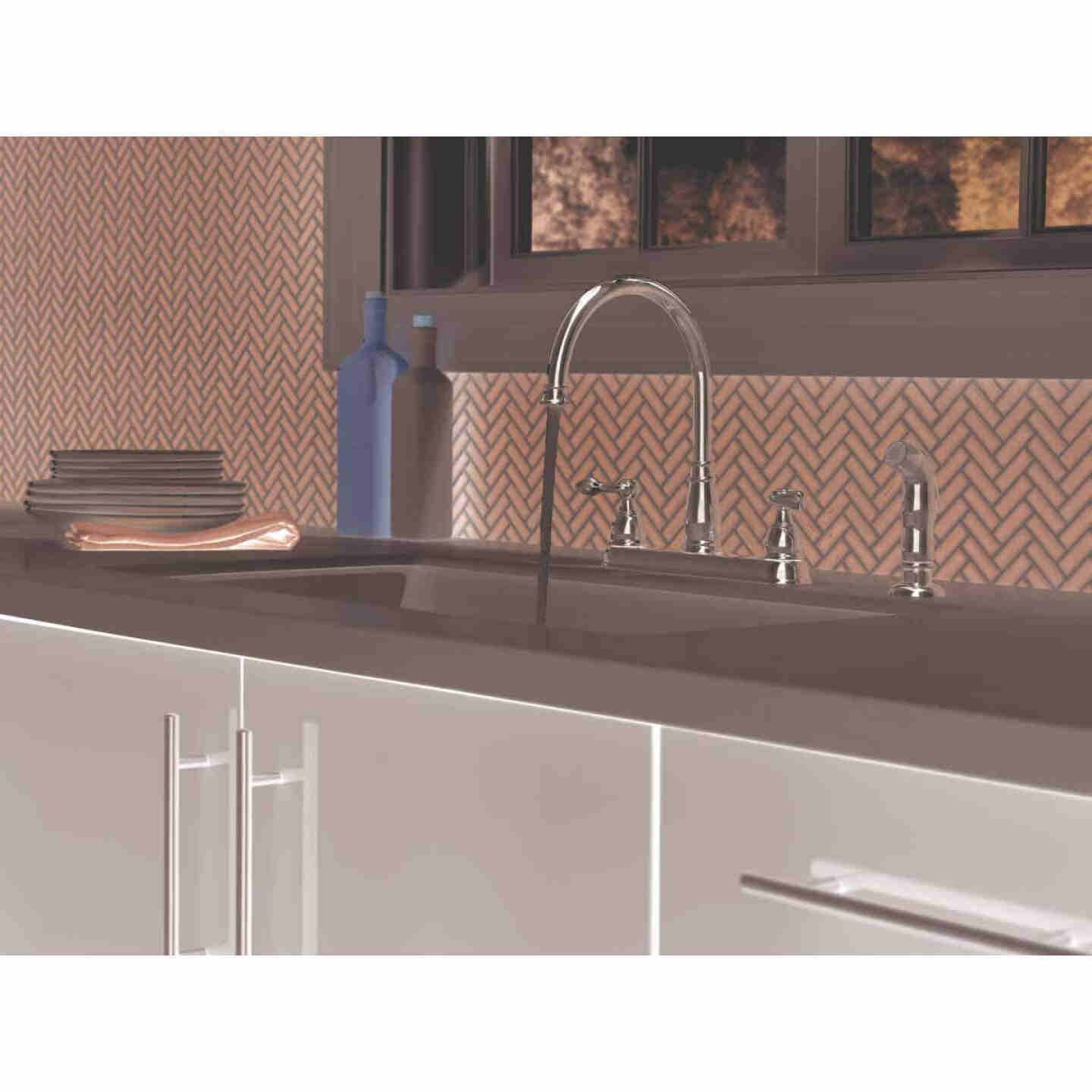 Delta Windemere Dual Handle Lever Kitchen Faucet with Side Spray, Stainless Image 3