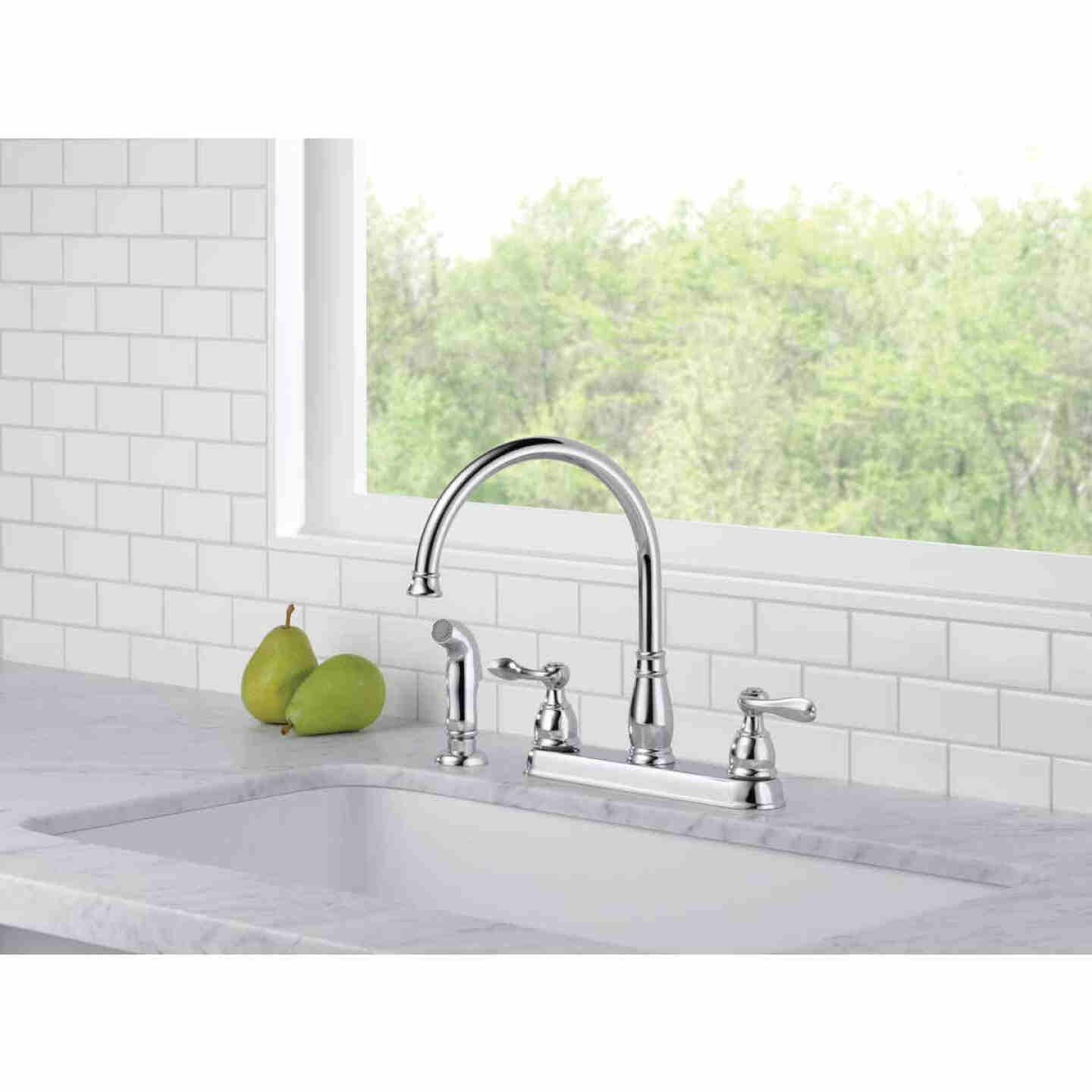 Delta Windemere Dual Handle Lever Kitchen Faucet with Side Spray, Stainless Image 4