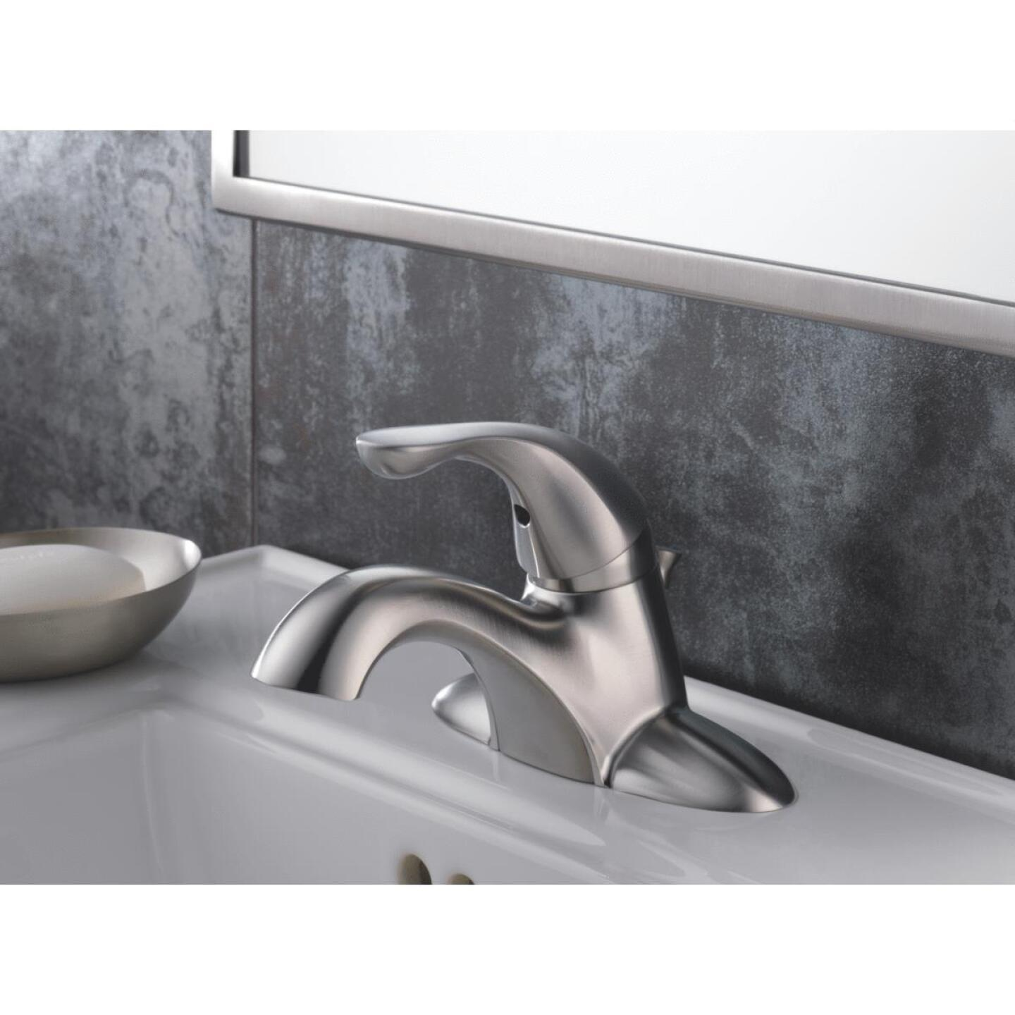 Delta Classic Stainless 1-Handle Lever 4 In. Centerset Bathroom Faucet with Pop-Up Image 3