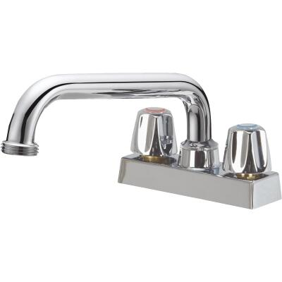 Home Impressions Chrome 4 In. Center Solid Brass, Metal Handle Laundry Faucet