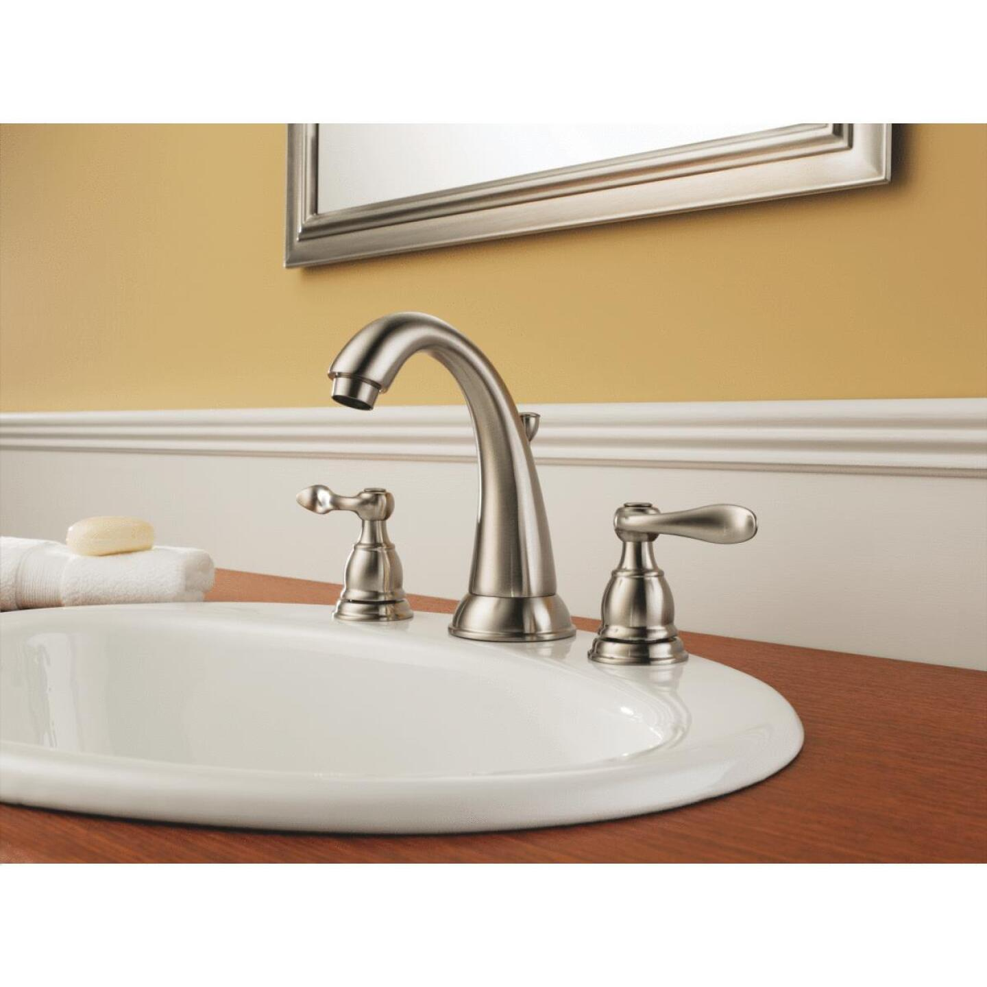 Delta Windmere Stainless 2-Handle Lever 6 In. to 16 In. Widespread Bathroom Faucet with Pop-Up Image 3