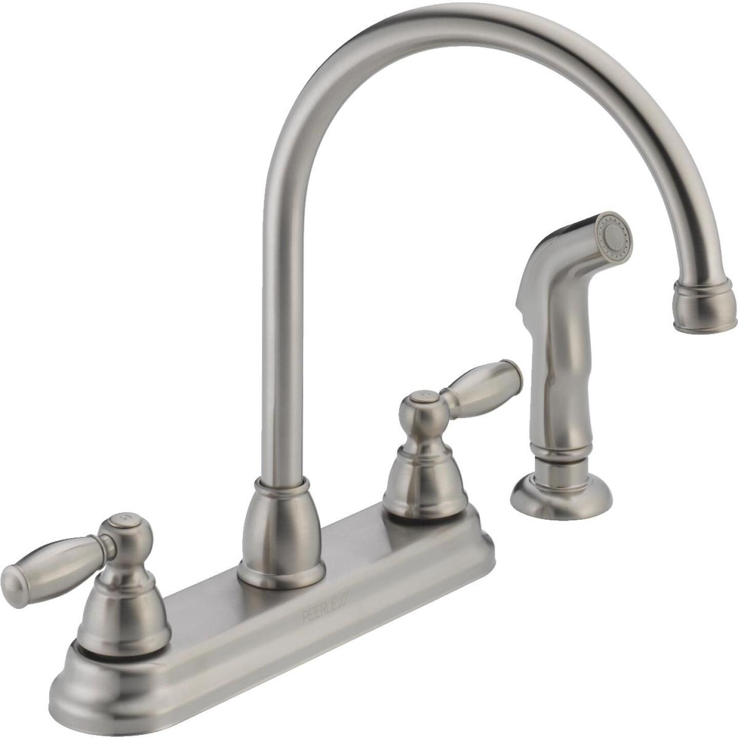 Peerless Dual Handle Lever Kitchen Faucet with Side Spray, Stainless Image 1