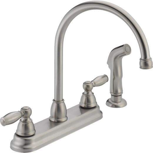 Peerless Dual Handle Lever Kitchen Faucet with Side Spray, Stainless