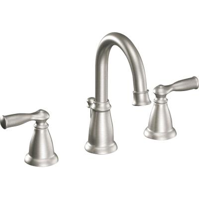 Moen Banbury Brushed Nickel 2-Handle Lever 8 In. Widspread Hi-Arc Bathroom Faucet with Pop-Up