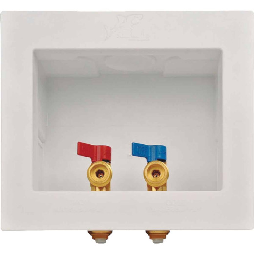 SharkBite 1/2 In. Push-to-Connect x 3/4 In. MHT White Washing Machine Outlet Box