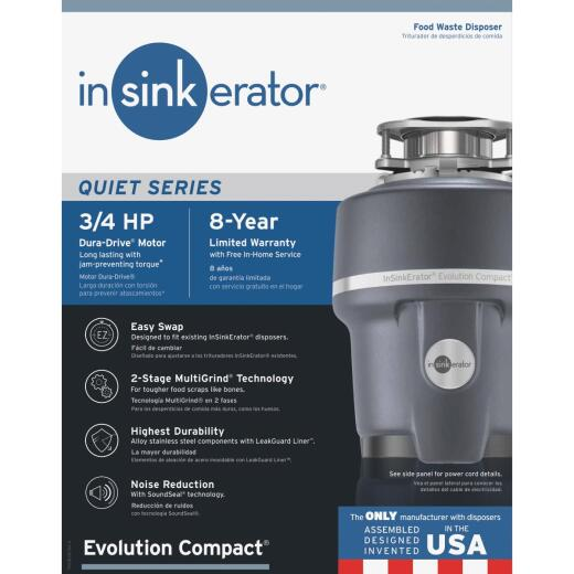 Insinkerator Evolution Compact 3/4 HP Garbage Disposal, 8 Year Warranty