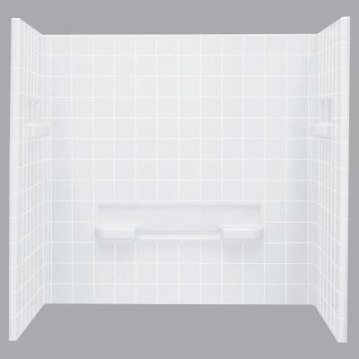 Sterling Advantage 6204 Series 3-Piece 72 In. H Tub Wall Kit in White (Tile Pattern)