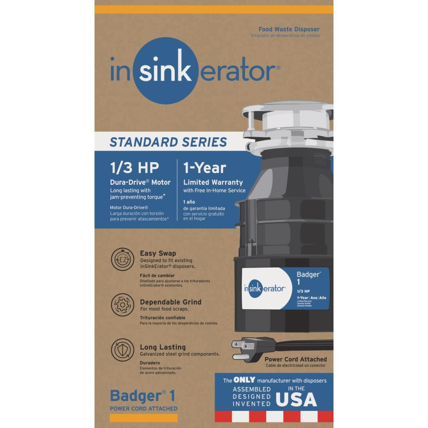 Insinkerator 1/3 HP Badger 1 Garbage Disposal with Power Cord, 1 Year Warranty Image 1