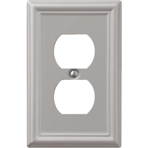 Amerelle Chelsea 1-Gang Stamped Steel Outlet Wall Plate, Brushed Nickel