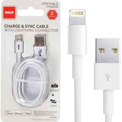 RCA 3 Ft. White Lightning USB Charging & Sync Cable