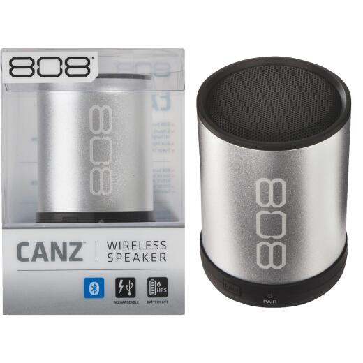 808 Canz Bluetooth Silver Wireless Speaker