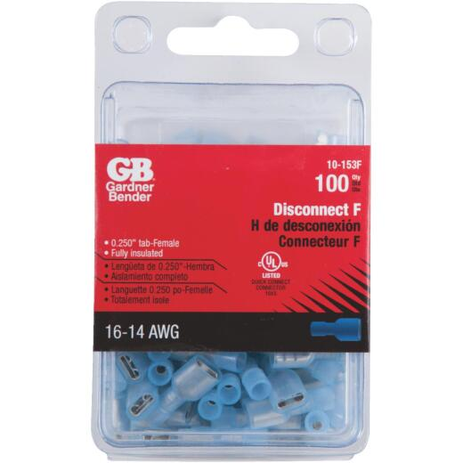 Gardner Bender 16 to 14 AWG Female Blue Fully-Insulated Disconnect (100-Pack)