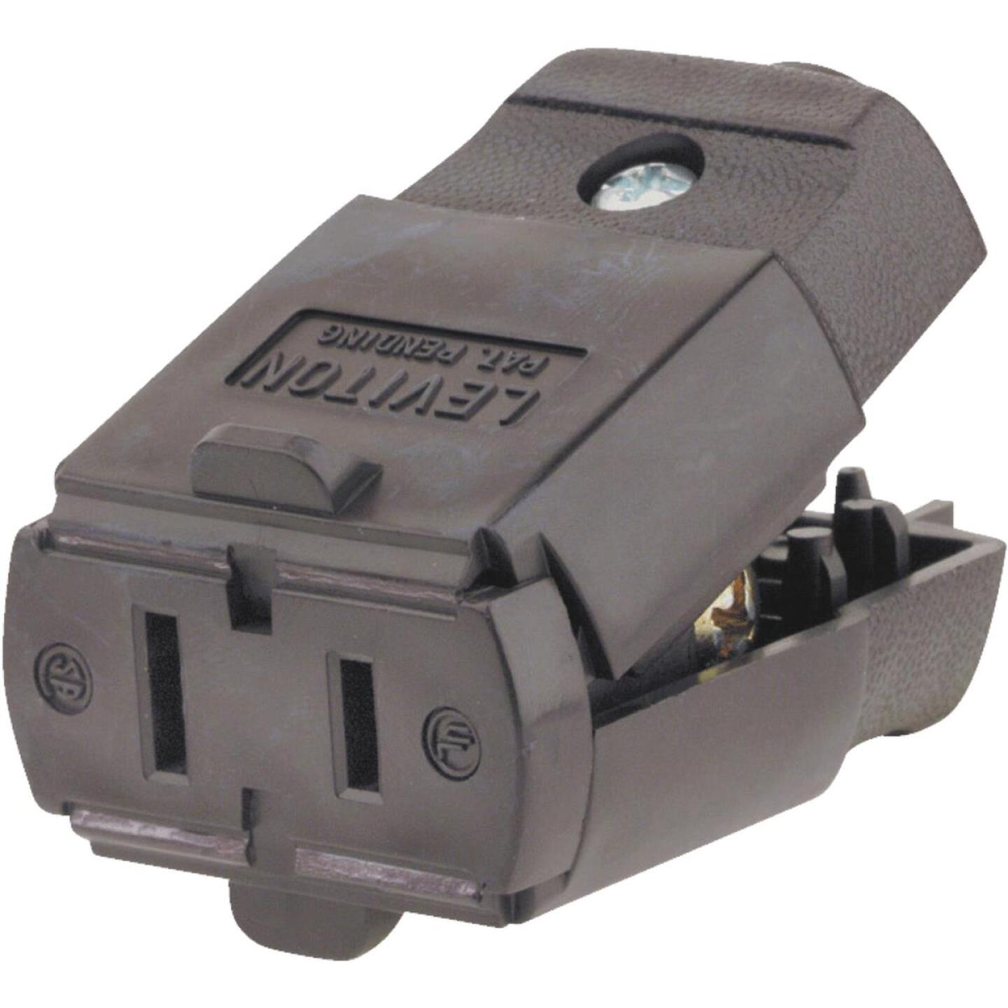 Leviton 15A 125V 2-Wire 2-Pole Hinged Cord Connector, Brown Image 2