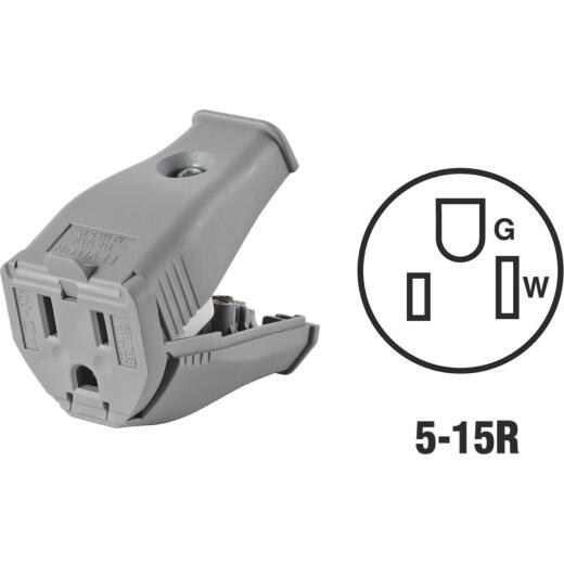 Leviton 15A 125V 3-Wire 2-Pole Clamp Tight Cord Connector, Gray