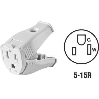 Leviton 15A 125V 3-Wire 2-Pole Clamp Tight Cord Connector, White