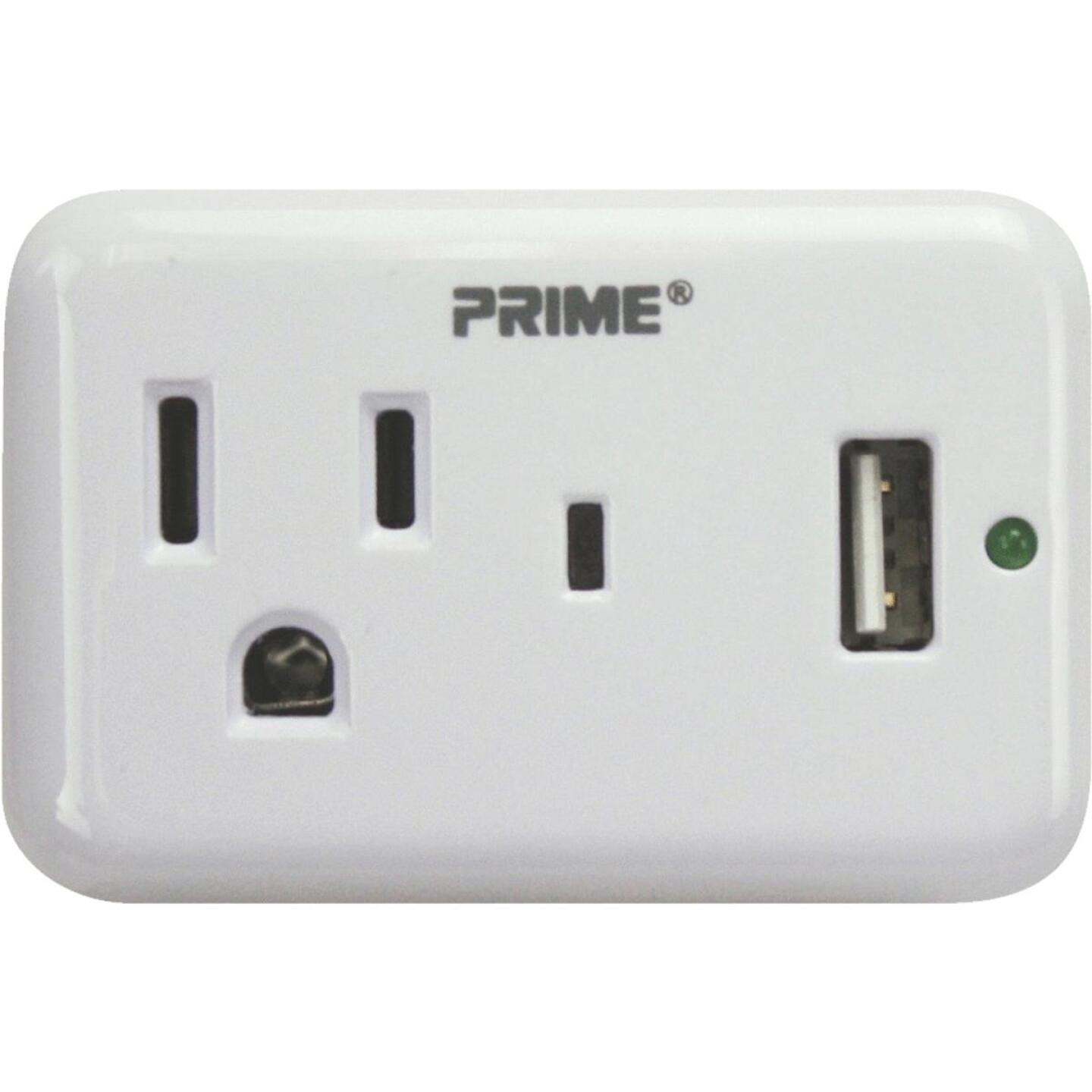 Prime Wire & Cable 1 Power & 1 USB White Wall Charger Image 1