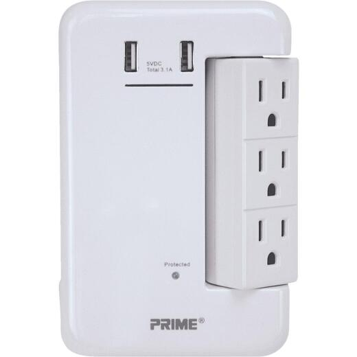 Prime Wire & Cable 6 Power & 2 USB White Rotating Surge Tap USB Charger