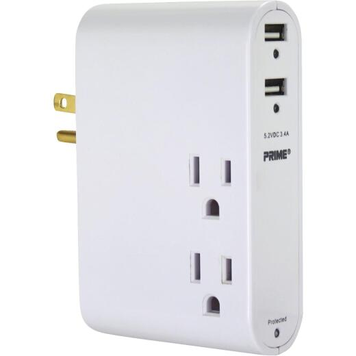 Prime Wire & Cable 3 Power & 2 USB Slim Style White Wall USB Charger