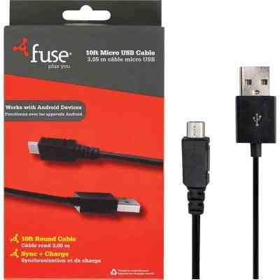 Fuse 10 Ft. Black Micro USB Charging & Sync Cable