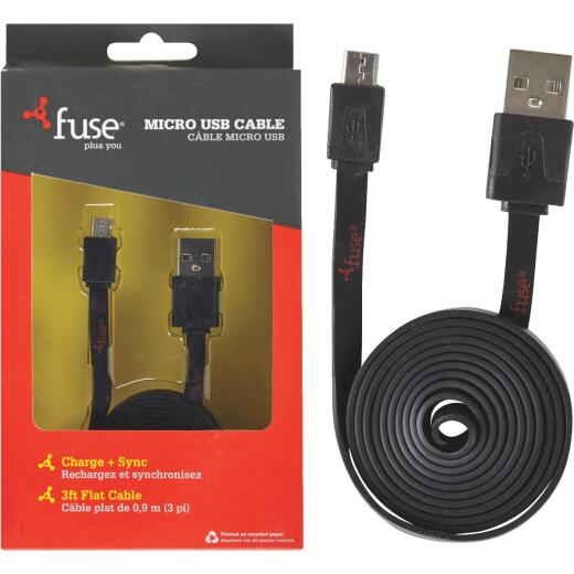 Fuse 3 Ft. Black USB to Micro USB USB Charging & Sync Cable