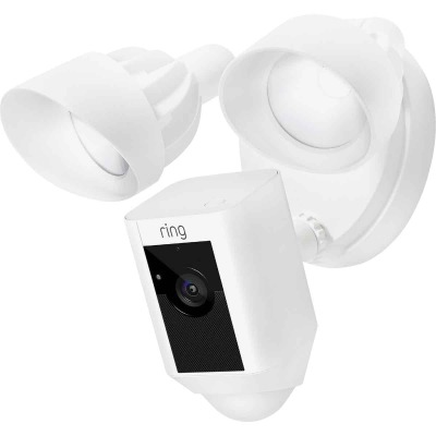Ring Hardwired Outdoor White Security Camera with Floodlight