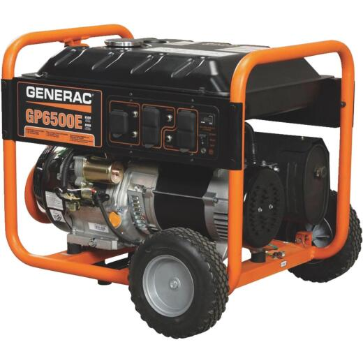 Generac 6500W Gasoline Powered Electric/Recoil Pull Start Portable Generator