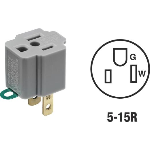 Leviton 15A 125V Gray Grounding Cube Tap Outlet Adapter