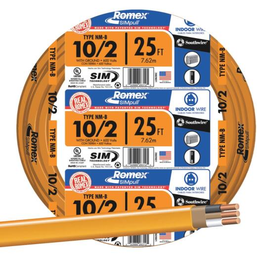 Romex 25 Ft. 10-2 Solid Orange NMW/G Wire