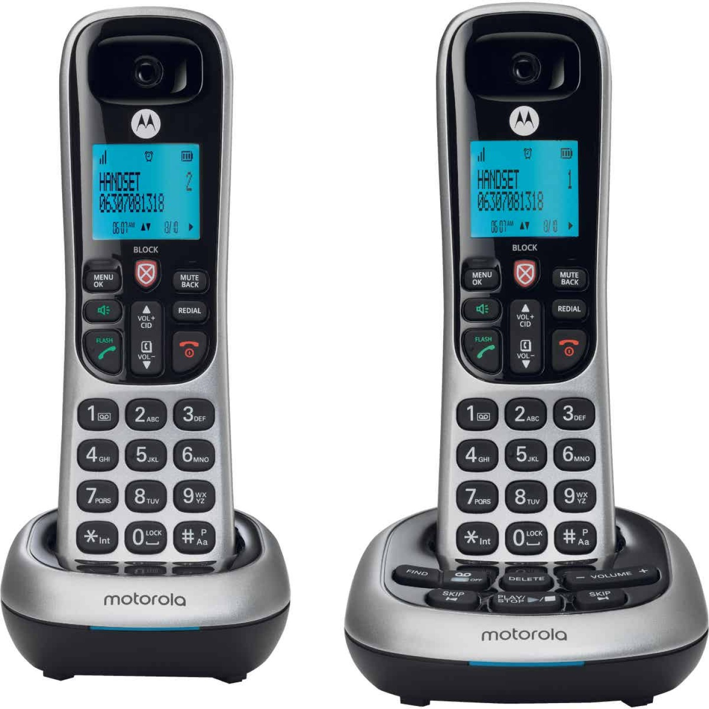 Motorola 1-Line 2-Handset Silver Cordless Phone with Answering System Image 2