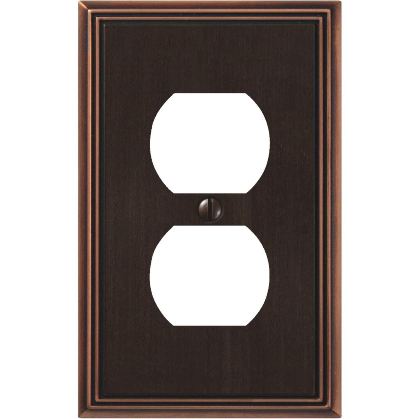 Amerelle Metro Line 1-Gang Cast Metal Outlet Wall Plate, Aged Bronze Image 1