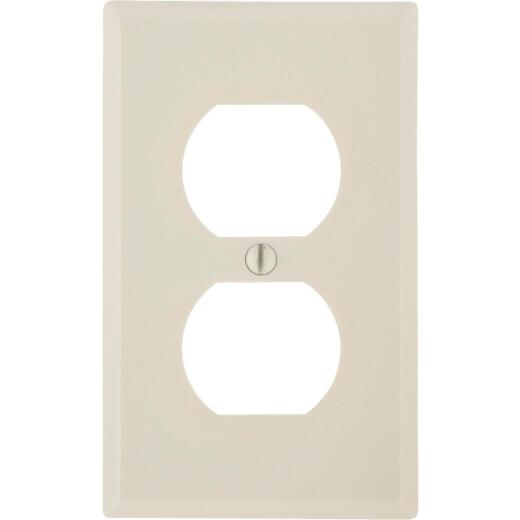 Leviton 1-Gang Smooth Plastic Outlet Wall Plate, Light Almond