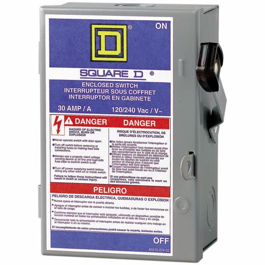 Square D 30A L Series Light-Duty Plug Fuse Enclosed Safety Switch With Neutral