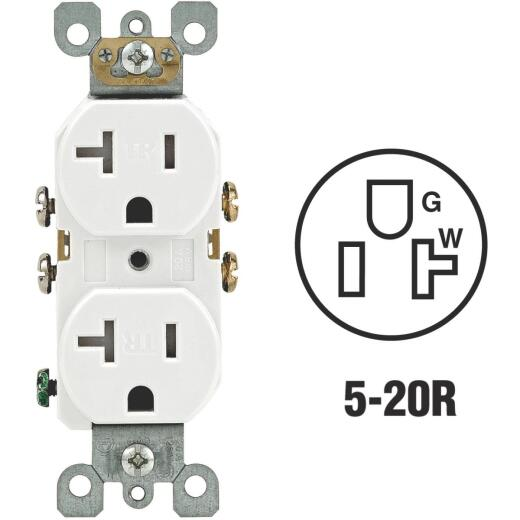 Leviton 20A White Tamper Resistant Residential Grade 5-20R Duplex Outlet
