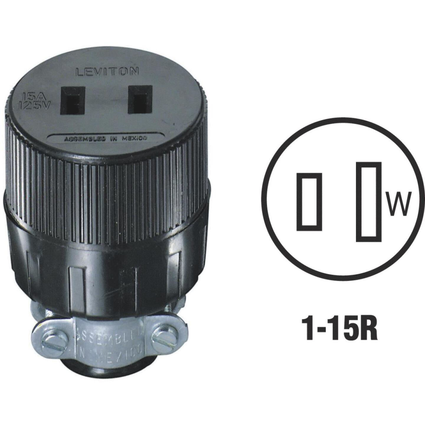Leviton 15A 125V 2-Wire 2-Pole Round Cord Connector Image 1