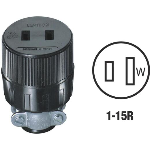 Leviton 15A 125V 2-Wire 2-Pole Round Cord Connector