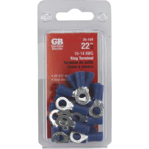 Gardner Bender 16 to 14 AWG #8 to #10 Stud Size Blue Vinyl-Insulated Barrel Ring Terminal (22-Pack)